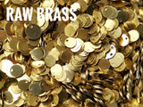 Brass Charm, 6mm brass sequin, stamping tag, 100 pcs | 圓銅片, 6mm, 邊孔, 100個