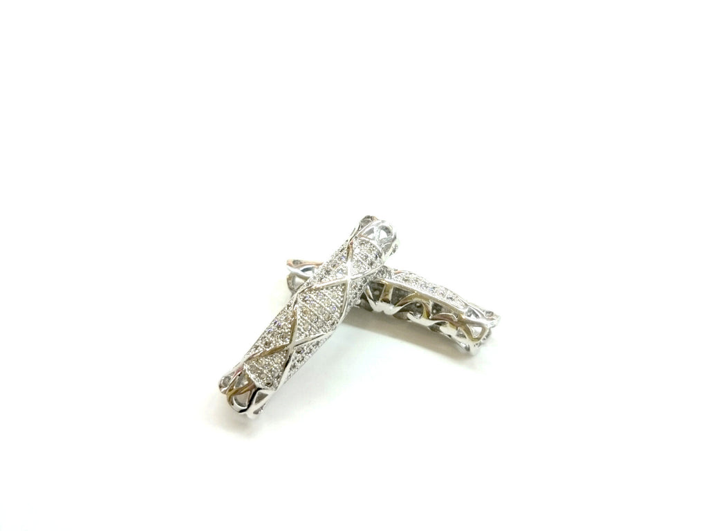 Bugle Findings, 7x30mm Silver color tube, Cubic Zirconia, Price Per Piece - amakeit bead 天富
