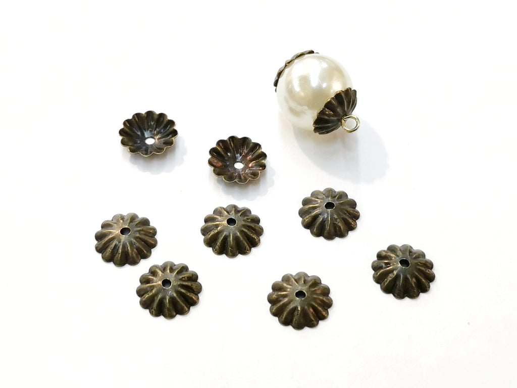 Bead Cap, Brass, 10mm, Fit For 14mm Bead, 24 Pieces | 銅珠蓋, 10mm, 14mm珠用, 24個