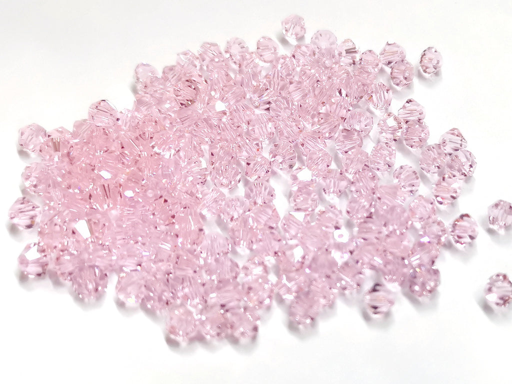 Bicone Glass Bead, 5mm, Pink, 72 Pcs | 雙尖水晶玻璃, 5mm, 粉紅, 72粒