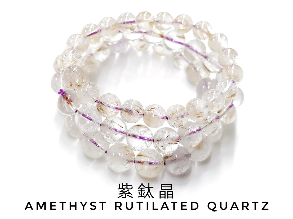Amethyst Rutilated Quartz, Bracelet, Single-Loop Elastic |  紫鈦晶, 入門級, 單圈手鏈