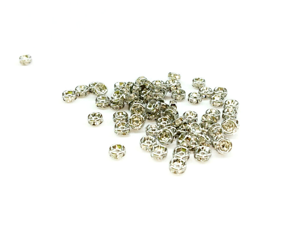 Rhinestone Spacer, 2x4mm Rondelle, 16 Pieces Per Pack - amakeit bead 天富