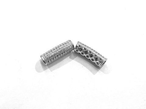 Bugle Findings, 7x20mm Silver color tube, Cubic Zirconia, Price Per Piece - amakeit bead 天富