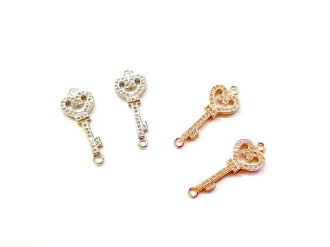 Cubic Zirconia Link, 11x28mm Key, Price Per Piece - amakeit bead 天富