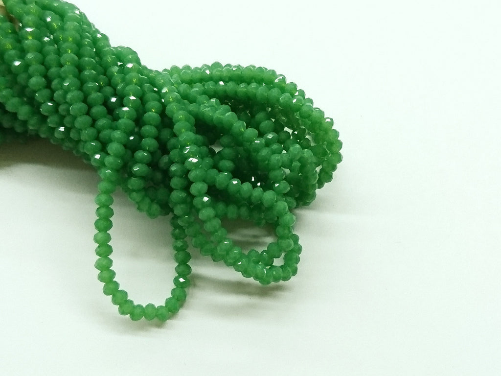3x3.5mm faceted rondelle glass beads, Translucent LimeGreen (#532) - amakeit bead 天富