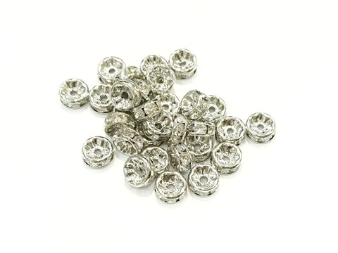 3.5x8mm Rhinestone rondelle spacer beads, 10 Pcs, from $12 HKD - amakeit bead 天富