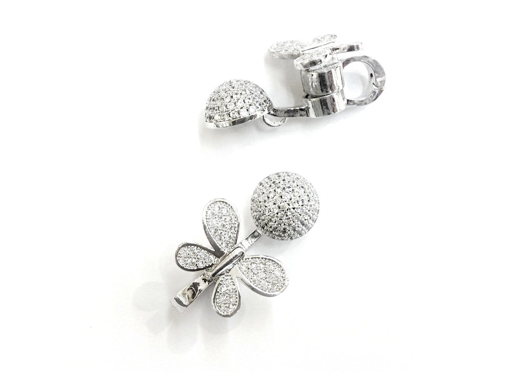 Rhinestone Magnetic Clasp, 17x28mm, Butterfly, Pearl Clasp, Price Per Piece - amakeit bead 天富
