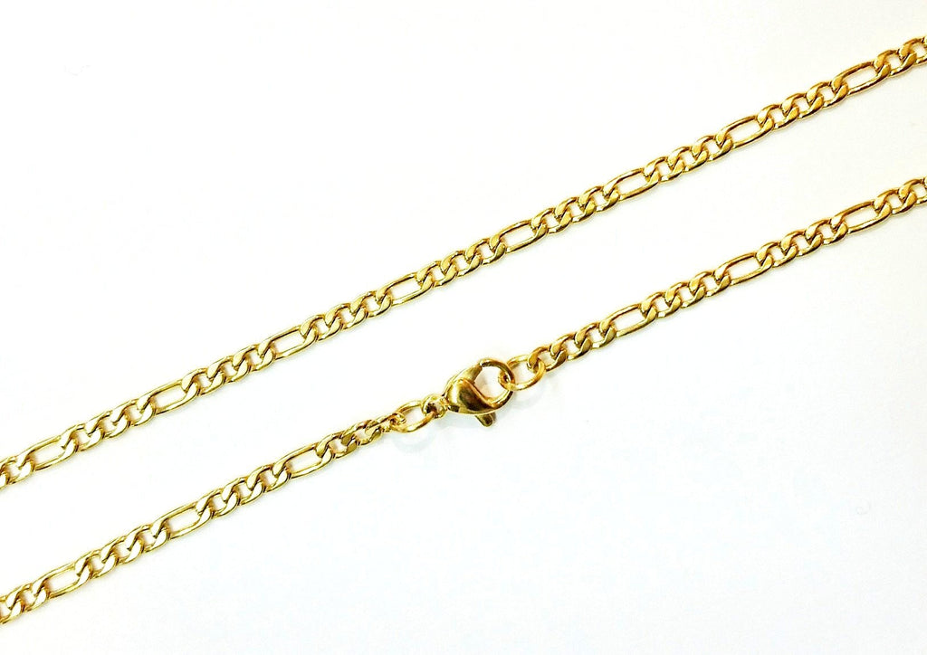 Stainless Steel Curb Chain Necklace with Lobster Clasp, Big&Small Loop, Price Per Piece - amakeit bead 天富