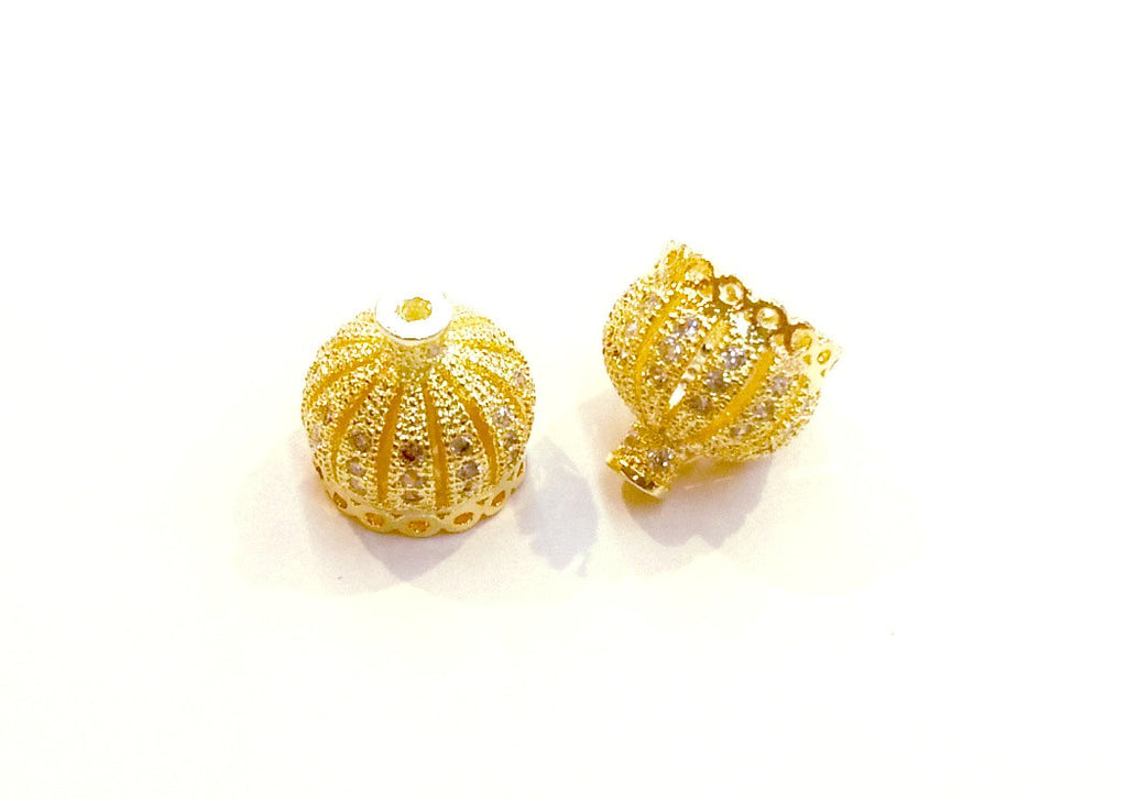 Bead Cap, 9mm Crown, Tassel Bail, Cubic Zirconia, Price Per Piece - amakeit bead 天富