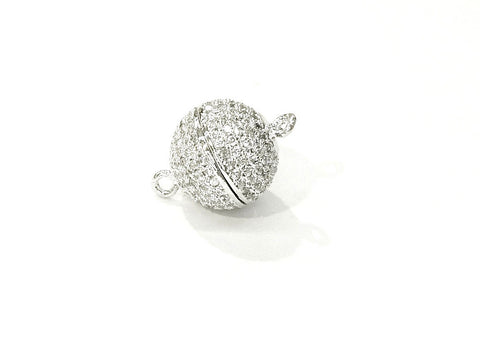 Rhinestone Magnetic Clasp, 12mm Ball, Clear Cubic Zirconia, Price Per Piece - amakeit bead 天富