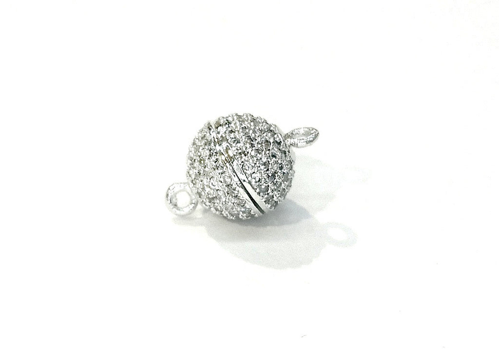 Rhinestone Magnetic Clasp, 10mm Ball, Clear Cubic Zirconia, Price Per Piece - amakeit bead 天富
