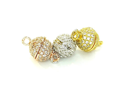 Rhinestone Magnetic Clasp, 8mm Ball, Clear Cubic Zirconia, Price Per Piece - amakeit bead 天富