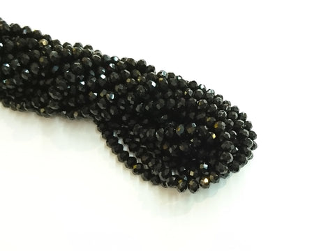 5x6mm faceted rondelle glass beads, Solid black (#02) - amakeit bead 天富