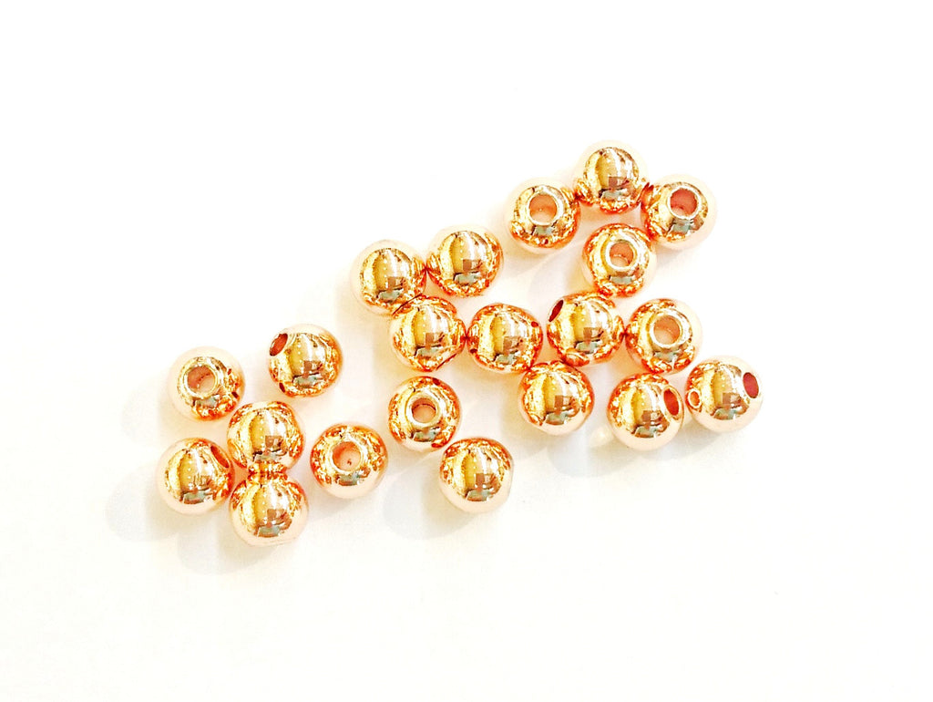 Brass Bead, 5mm, Solid Ball, Rose Gold, 40 Pieces Per Pack - amakeit bead 天富