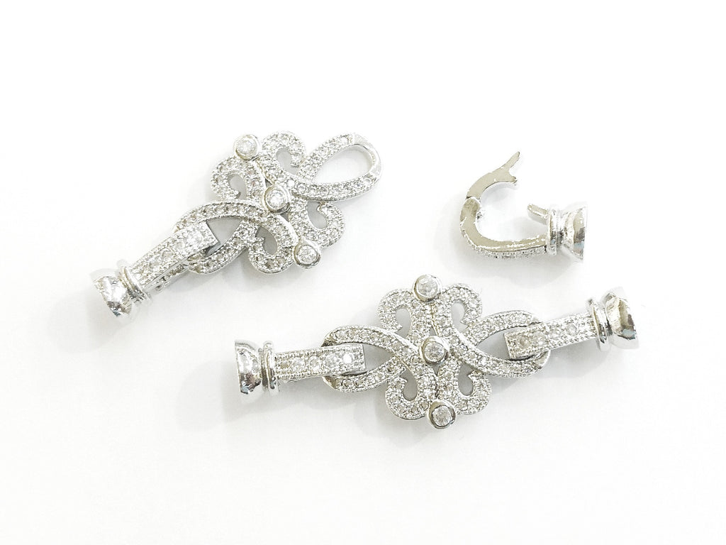 Snap Clasp, 16x42mm, Celtic Pattern, Clear Cubic Zirconia, Price Per Piece - amakeit bead 天富