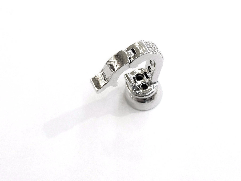 Snap Clasp, 16x37mm, Celtic Pattern, Clear Cubic Zirconia, Price Per Piece - amakeit bead 天富