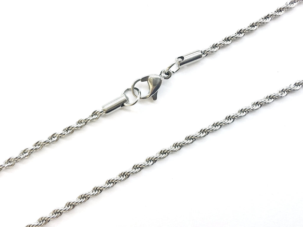 "20"" Stainless Steel Chain Necklace with Lobster Clasp, 2.5mm Rope Chain, Price Per Piece - amakeit bead 天富"