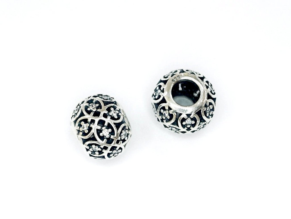 Large Hole Bead, Sterling Silver, 8.5x10.5mm, Cubic Zirconia | 閃石銀珠, 8.5x10.5mm
