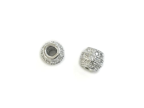 Bead, Sterling Silver, Cubic Zirconia, 4.7x5.4mm  | 925銀閃石珠, 4.7x5.4mm