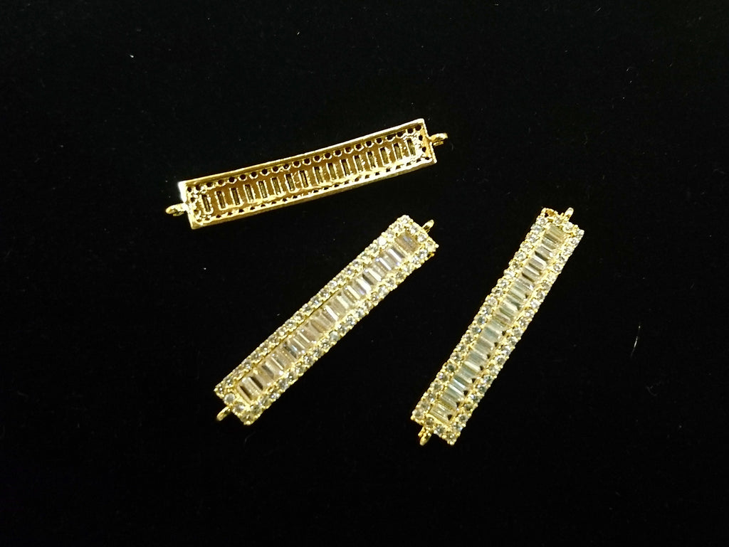 Connector, Brass, Cubic Zirconia, 6x34mm Rectangle, 1 Pc | 銅連接配件, 方晶鋯石, 6x34mm, 長方, 1個