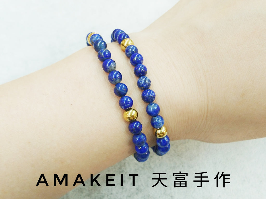Made to order - Lapis lazuli, Single loop, Gemstone Bracelet | 訂製手鏈, 青金石, 單圈, 天然水晶