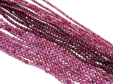 Gemstone beads, faceted round, Garnet | 天然水晶, 圓形切面, 石榴石