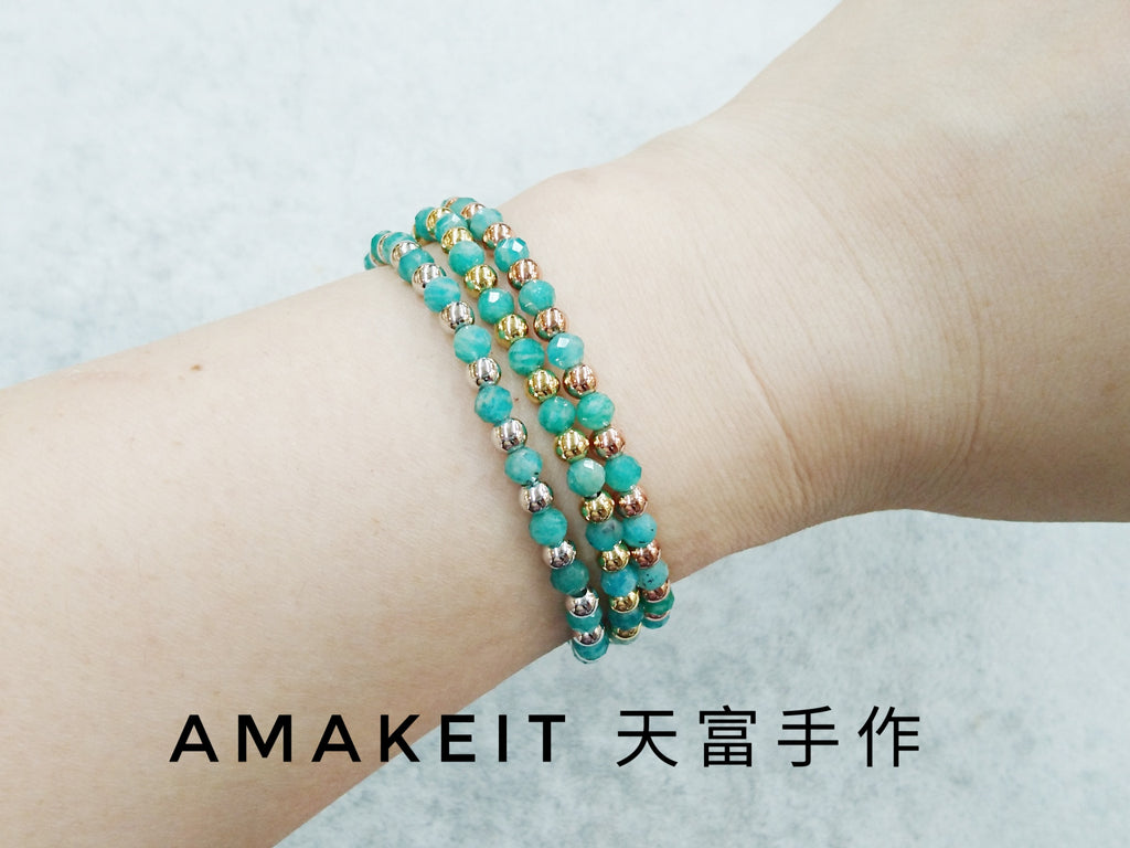 Made to order - Amazonite, Single loop, Gemstone Bracelet | 訂製手鏈, 天河石, 單圈, 天然水晶
