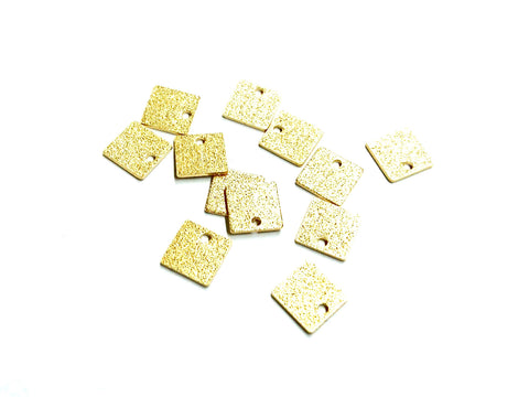 Brass Charm, Stardust Square Charms, 8x8mm, raw brass, 30 pcs | 方形磨砂銅片, 8x8mm, 黃銅色, 30個