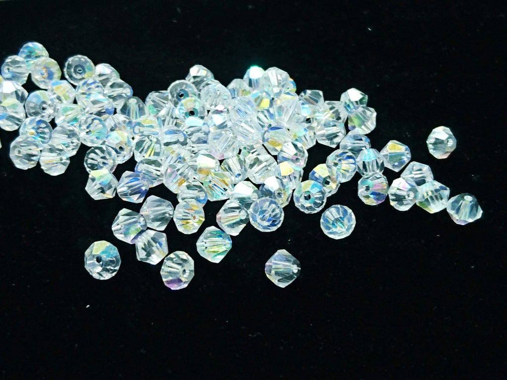 Bicone Glass Bead, 6mm, clear AB, 72pcs | 雙尖水晶玻璃, 6mm, 透明白AB, 72粒