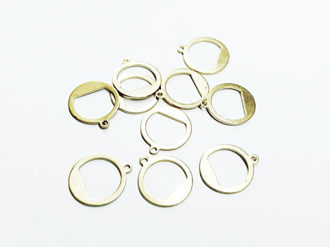 Brass Charm, Round Charms, 15x17mm, raw brass, 10 pcs | 圓形銅片, 15x17mm, 黃銅色, 10個