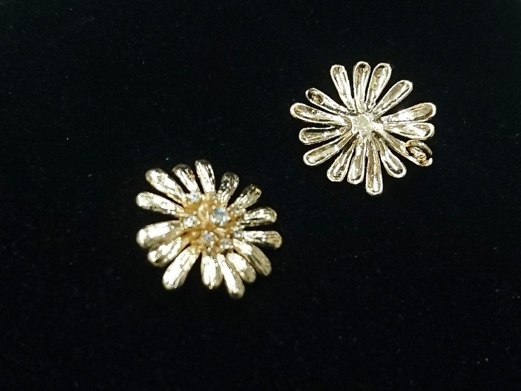 Connector, Brass, Cubic Zirconia, 18mm, Chrysanthemum, 1 Pc | 銅連接配件, 方晶鋯石, 18mm, 菊花, 1個