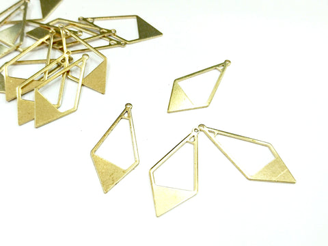 Brass Charm, 16.5x36mm, raw brass, 6 pcs | 銅片, 16.5x36mm, 黃銅色, 6個