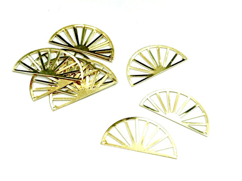 Brass Charm, Semi circle, Charms, 17.5x35mm, raw brass, 10 pcs | 半圓銅片, 17.5x35mm, 黃銅色, 10個