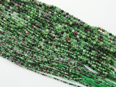 Gemstone beads, faceted round, Anyolite | 天然水晶, 圓形切面, 紅綠寶