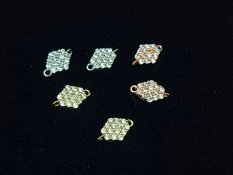 Connector, Brass, Cubic Zirconia, 8x13mm, 1 Pc | 銅連接配件, 方晶鋯石, 8x13mm, 1個