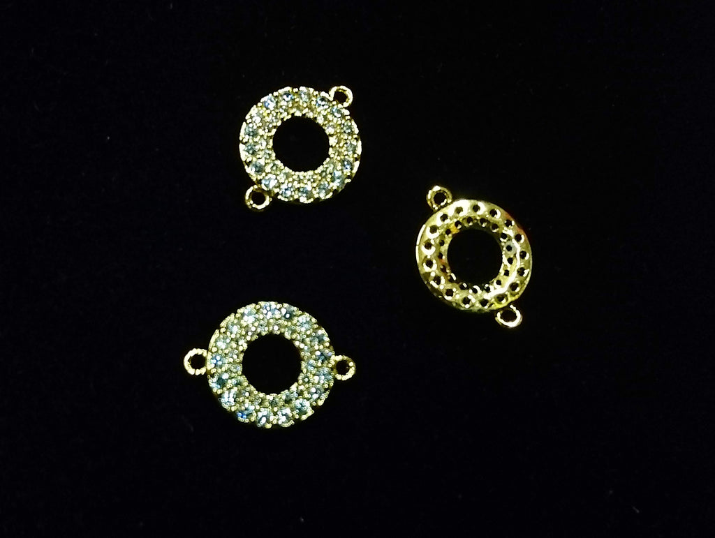 Connector, Brass, Cubic Zirconia, 10.5x14mm, Circle, Ring, 1 Pc | 銅連接配件, 方晶鋯石, 10.5x14mm, 圓圈, 1個