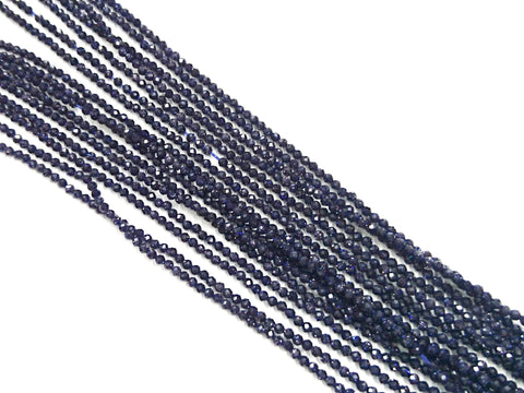 Gemstone beads, faceted round, 2.1mm, Blue Goldstone | 天然水晶, 圓形切面, 2.1mm, 藍砂石