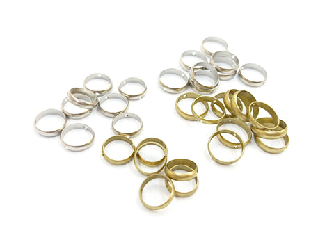 Brass Bead, Round Bead Frame, 8mm/10mm, 6 pcs | 雙孔銅圈, 8mm/10mm, 6個