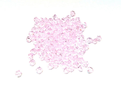 Bicone Glass Bead, 3mm, pink, 144 Pcs | 雙尖水晶玻璃, 3mm, 粉紅色, 144粒