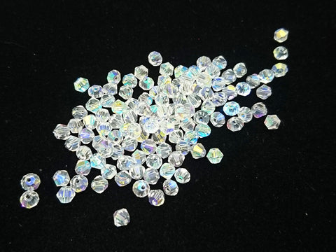 Bicone Glass Bead, 4mm, clear AB, 144 Pcs | 雙尖水晶玻璃, 4mm, 透白色AB, 144粒