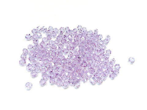 Bicone Glass Bead, 3mm, Lavender, 144 Pcs | 雙尖水晶玻璃, 3mm, 薰衣草, 144粒