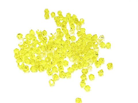 Bicone Glass Bead, 4mm, yellow, 144 Pcs | 雙尖水晶玻璃, 4mm, 橘黃, 144粒