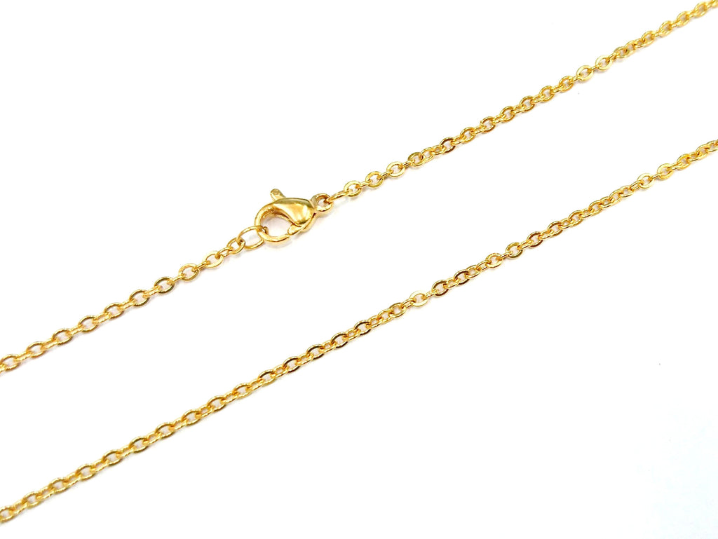 "18""/24"" Stainless Steel Necklace, 2mm Flat Cable Chain, gold color 