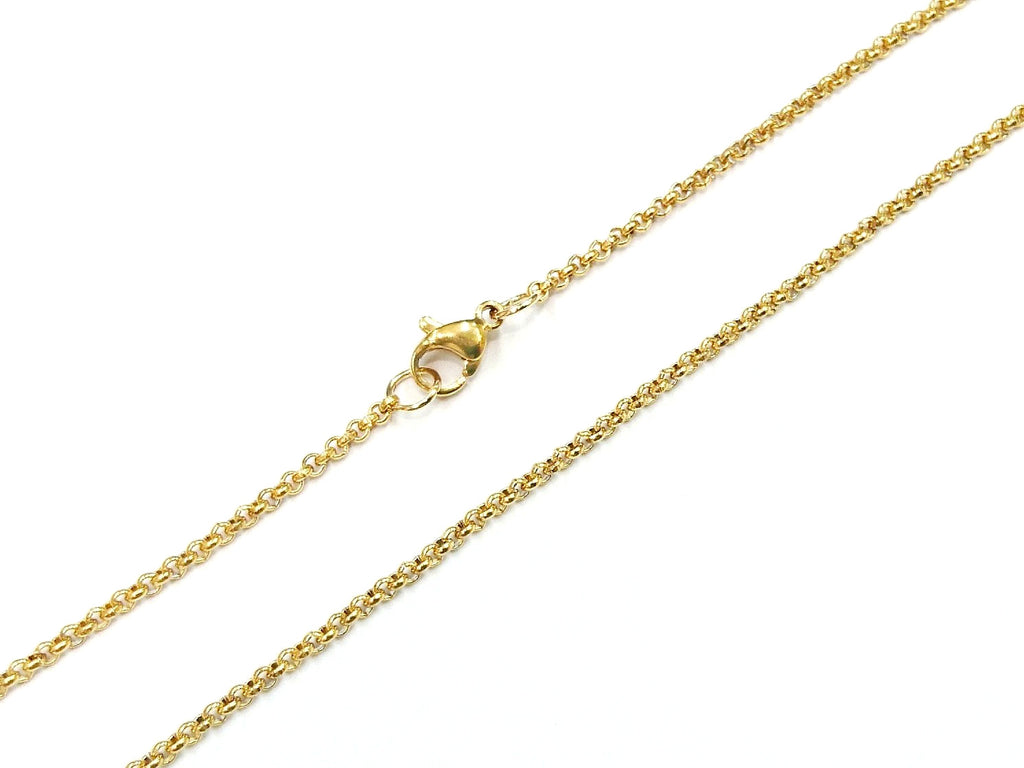 "18"" Stainless Steel Necklace, 2mm Rolo Chain, Gold color 