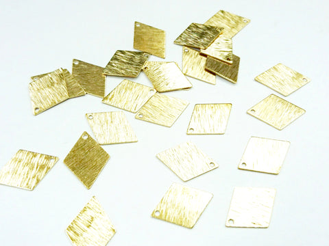 Brass Charm, 15x21mm, diamond, raw brass, 10 pcs | 菱形銅片, 15x21mm, 黃銅色, 10個