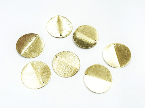 Brass Charm, 22mm, round, raw brass, 6 pcs | 圓形銅片, 22mm, 黃銅色, 6個