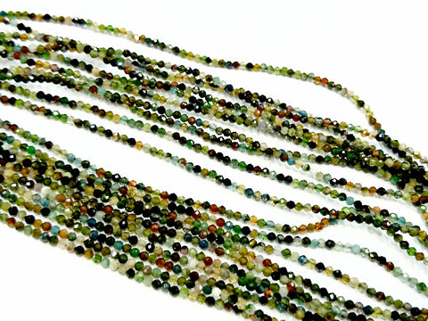 Gemstone beads, faceted round, 1.9mm, dark tone tourmaline | 天然水晶, 圓形切面, 1.9mm, 彩黑碧璽