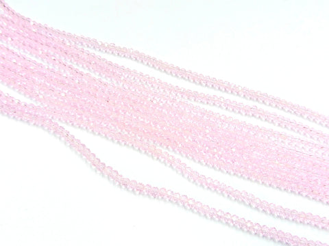 Glass beads, 3x3.5mm faceted rondelle, Transparent Pink (#28) | 玻璃珠, 3x3.5mm, 切面扁珠, 透明粉紅 (#28)