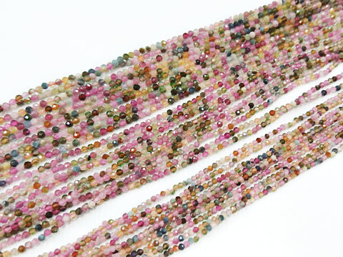 Gemstone beads, faceted round, mutli-colored tourmaline | 天然水晶, 圓形切面, 彩碧璽