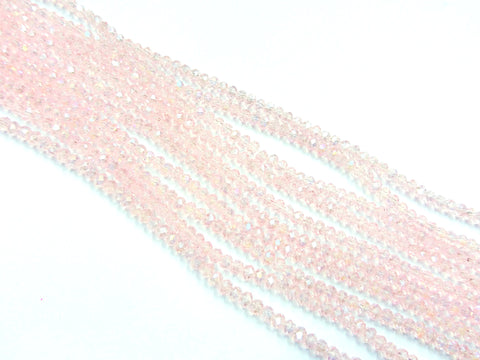 Glass beads, 3x3.5mm faceted rondelle, Transparent Vintage Rose, Lustre (#26L) | 玻璃珠, 3x3.5mm, 切面扁珠, 鍍面透明水粉色 (#26L)